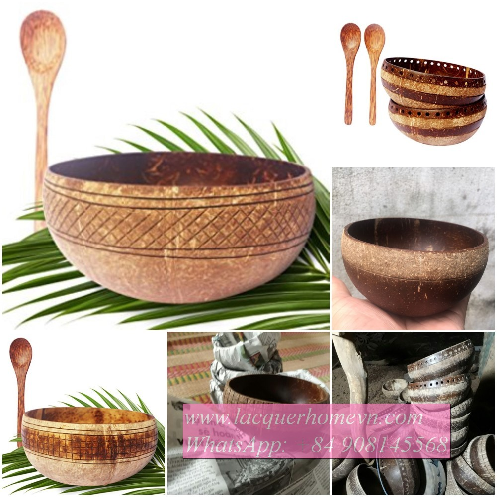 Ecofriendly  engraved coconut natural bowl