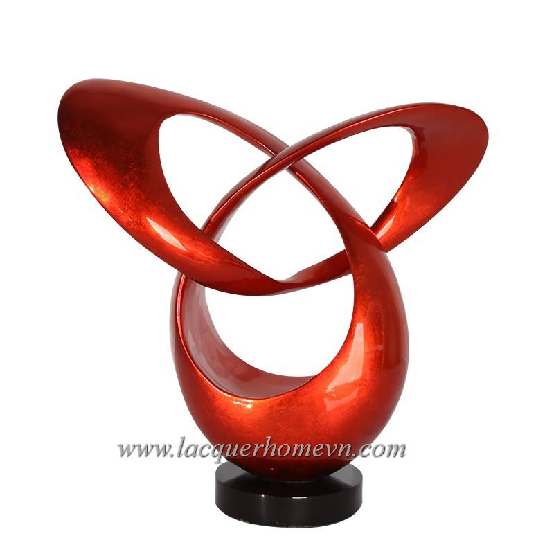 HT3604.2 Biểu tượng sơn mài dán bạc màu đỏ