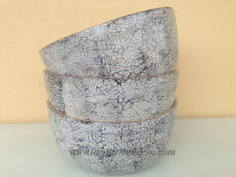 HT5702 Vietnam bamboo eggshell inlaid lacquer bowl