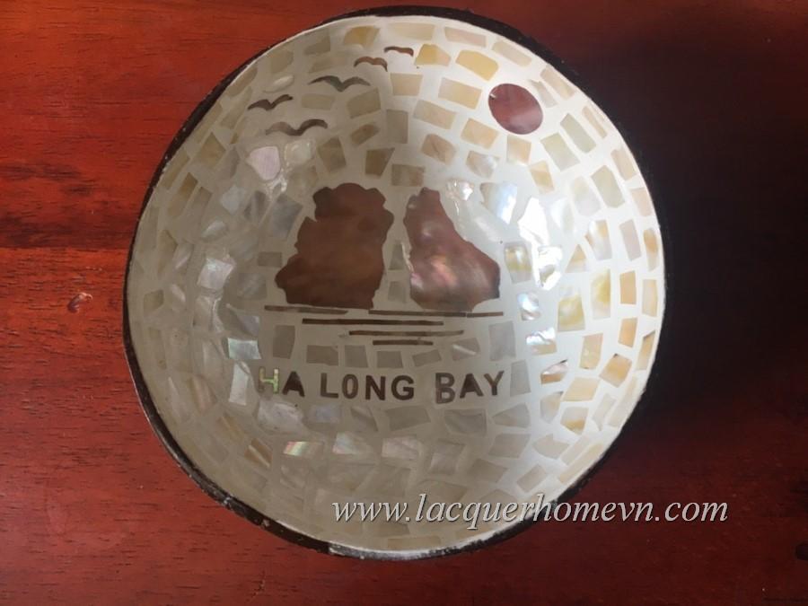 HT5961 Chén dừa cẩn trai hình vịnh Hạ Long