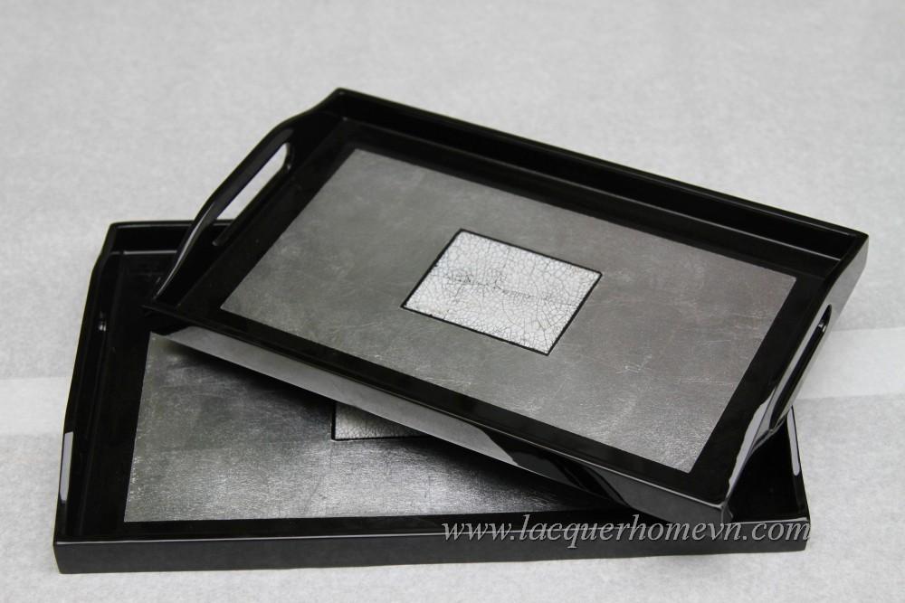HT6002 Khay trà sơn mài dán bạc