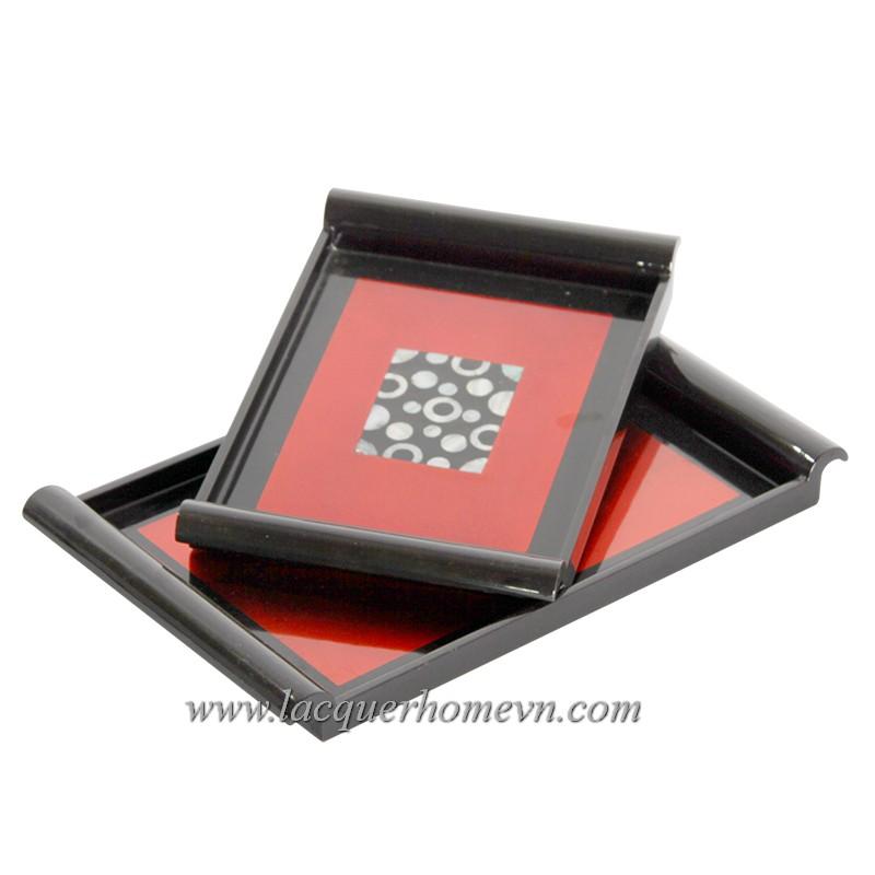 HT6009 Khay trà dán bạc khảm trai bi tròn
