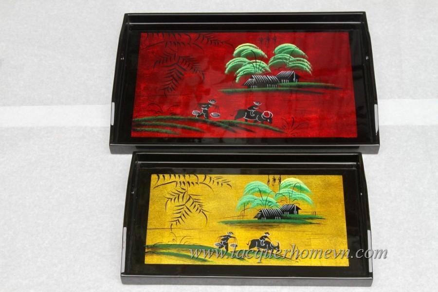 HT6010 Khay trà dán bạc vẽ phong cảnh