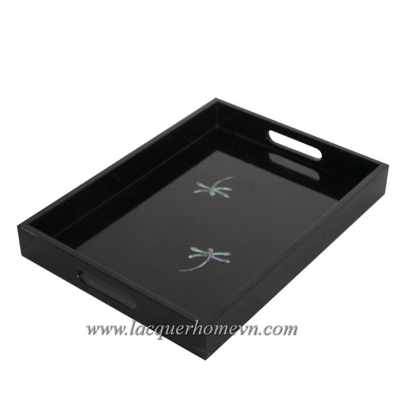 HT6022 Khay sơn mài đen gắn chuồn cẩn trứng