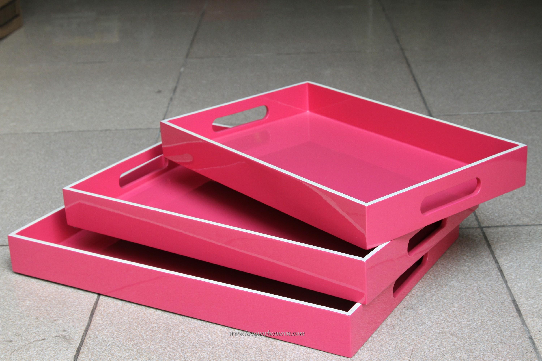 HT6220 Bộ khay sơn mài hồng bộ 3 chiếc