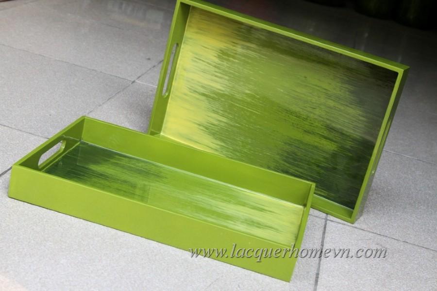 HT6224 Khay sơn mài xuất khẩu màu xanh lá