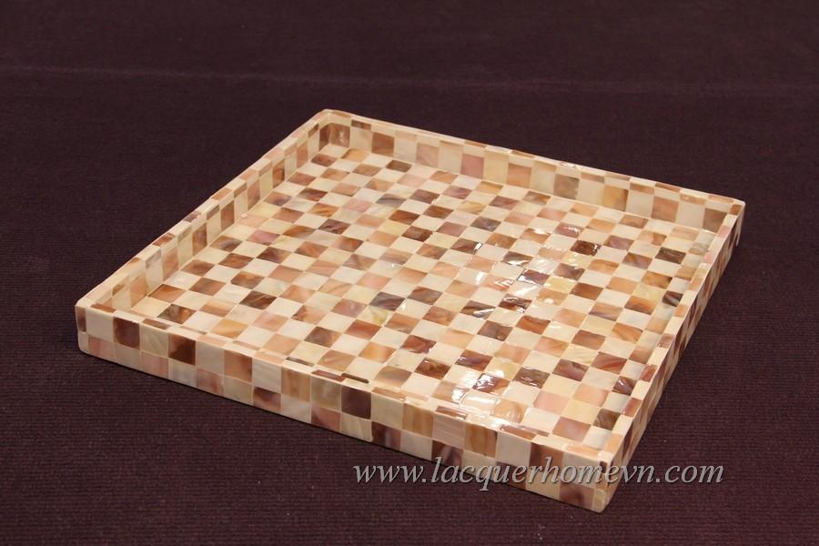 HT6705  Khay sơn mài cốt MDF khảm trai ô vuông