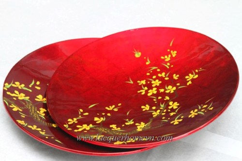 HT6769 MDF lacquer silver leaf plate with hand painting