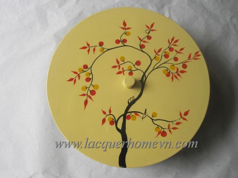 Hộp mứt tết sơn mài vẽ cây chanh