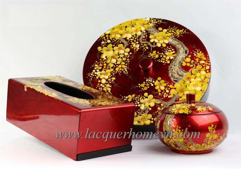 Bộ hộp mứt tết, hộp kẹo sơn mài vẽ hoa mai cao cấp