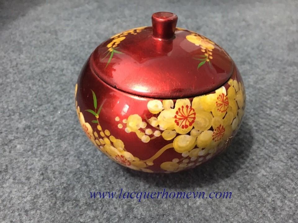 HT9950 Hũ sơn mài đựng ô mai vẽ họa tiết hoa mai