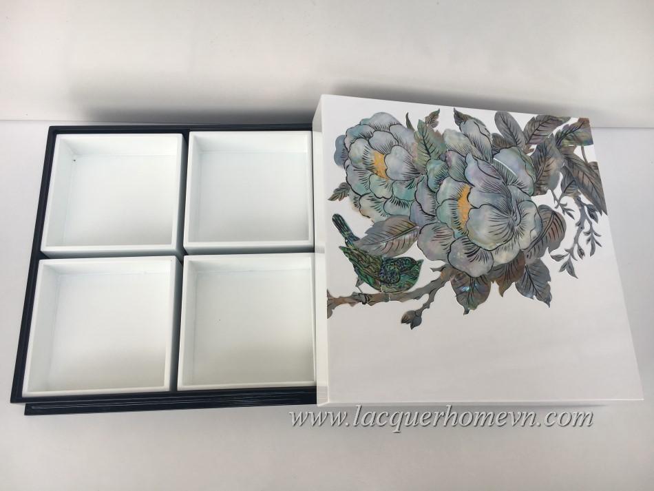 HT9964 Hộp sơn mài đựng mứt tết khảm trai họa tiết hoa hồng