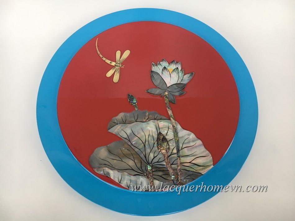 HT9967.1- hộp mứt tết, hộp kẹo tết sơn mài cẩn hoa sen bằng trai