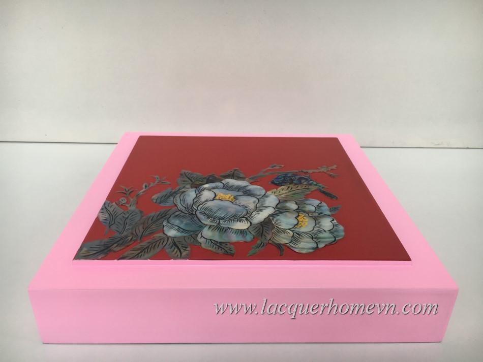 HT9974.1 Hộp mứt sơn mài khảm trai hoa sen cao cấp