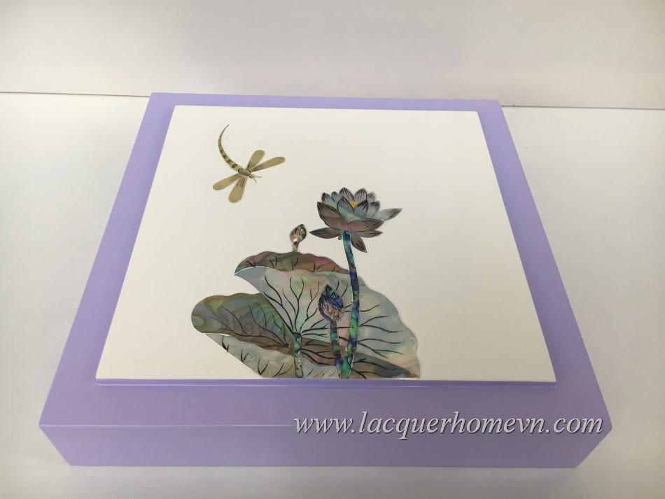 HT9982 hộp mứt sơn mài cao cấp, vẽ cá và hoa đào